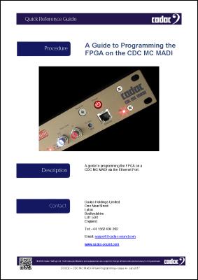 Cadac CDC MC MADI Programming FGPA