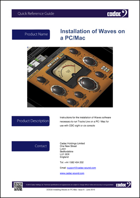 nstallation of Waves Track Live on a PC or Mac